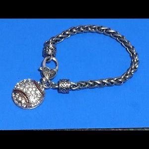Silver/Rhinestone Baseball Bracelet